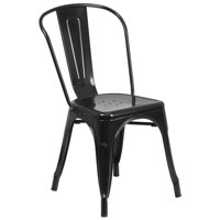 Pemberly Row Metal Stackable Dining Chair in Black