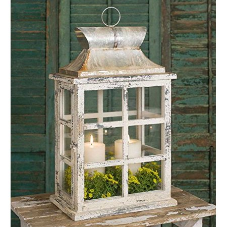 Distressed White Large Window Pane Style Candle Lantern ()