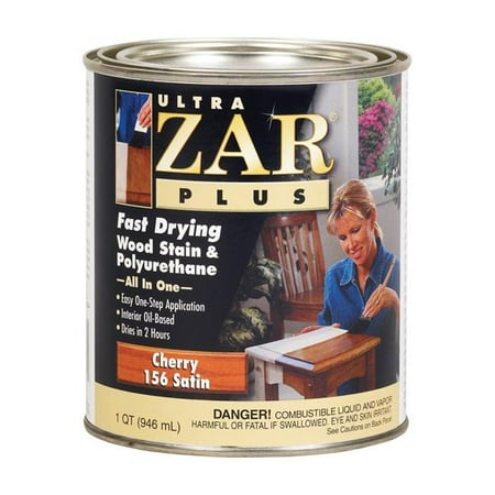 Ultra Zar 1903749 Plus Satin Cherry Oil-Based Fast-Drying Wood Stain & Polyurethane, 1 qt. - Case of 4