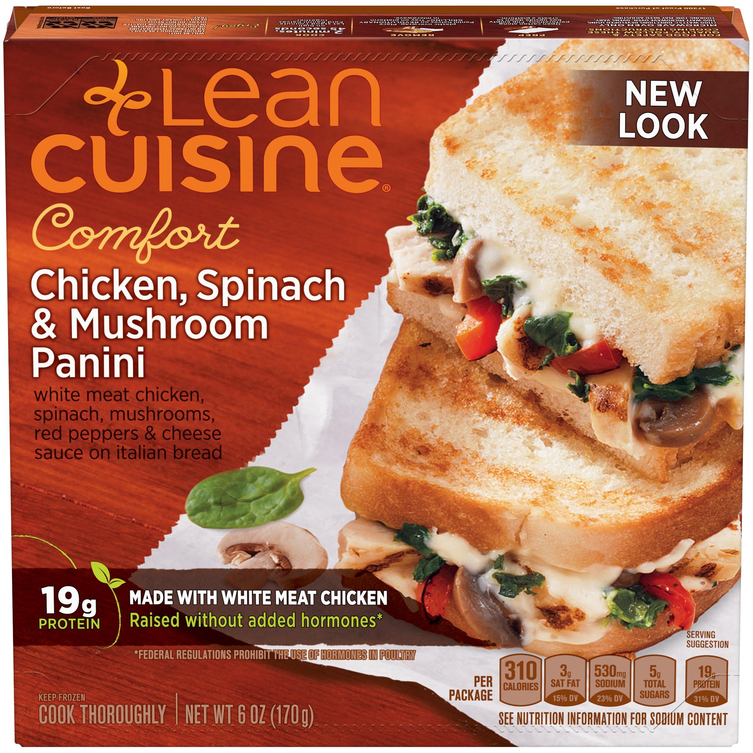 LEAN CUISINE COMFORT Chicken, Spinach & Mushroom Panini 6 oz. Box