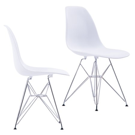 Midcentury Modern Eames Style DSR Dining Chairs with Chrome Finish Legs, Easy Assembly, Set of 2 (Eames Office Chairs)