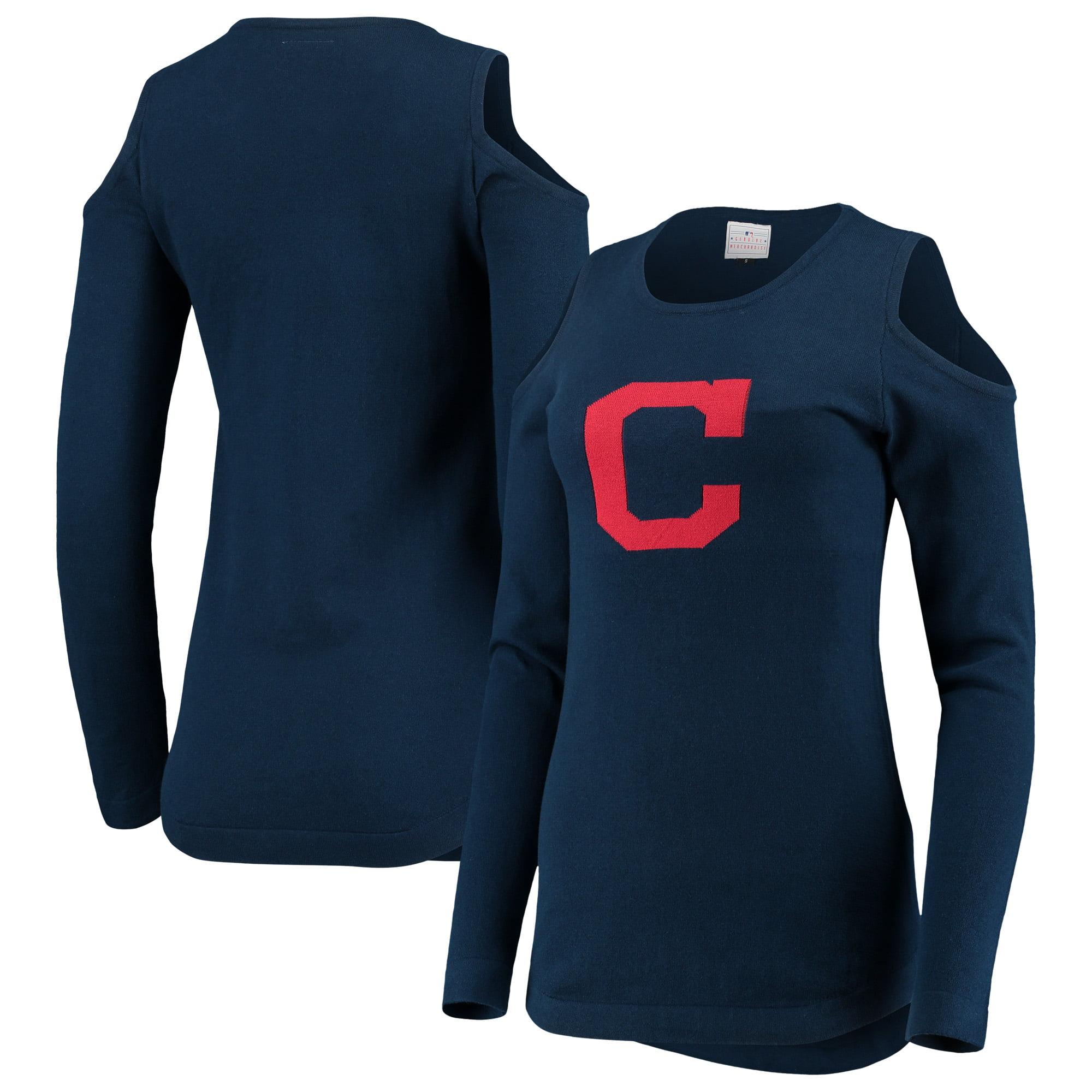 Cleveland Indians Women's Logo Cold Shoulder Sweater - Navy