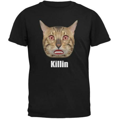 Halloween Killin Cat Black Adult T-Shirt - Black Cats Halloween History