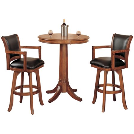 Hillsdale Furniture 4186PTBS Medium Brown Oak Park View 3 Piece Wood Framed Leather Rustic Brown Leather 3 Piece