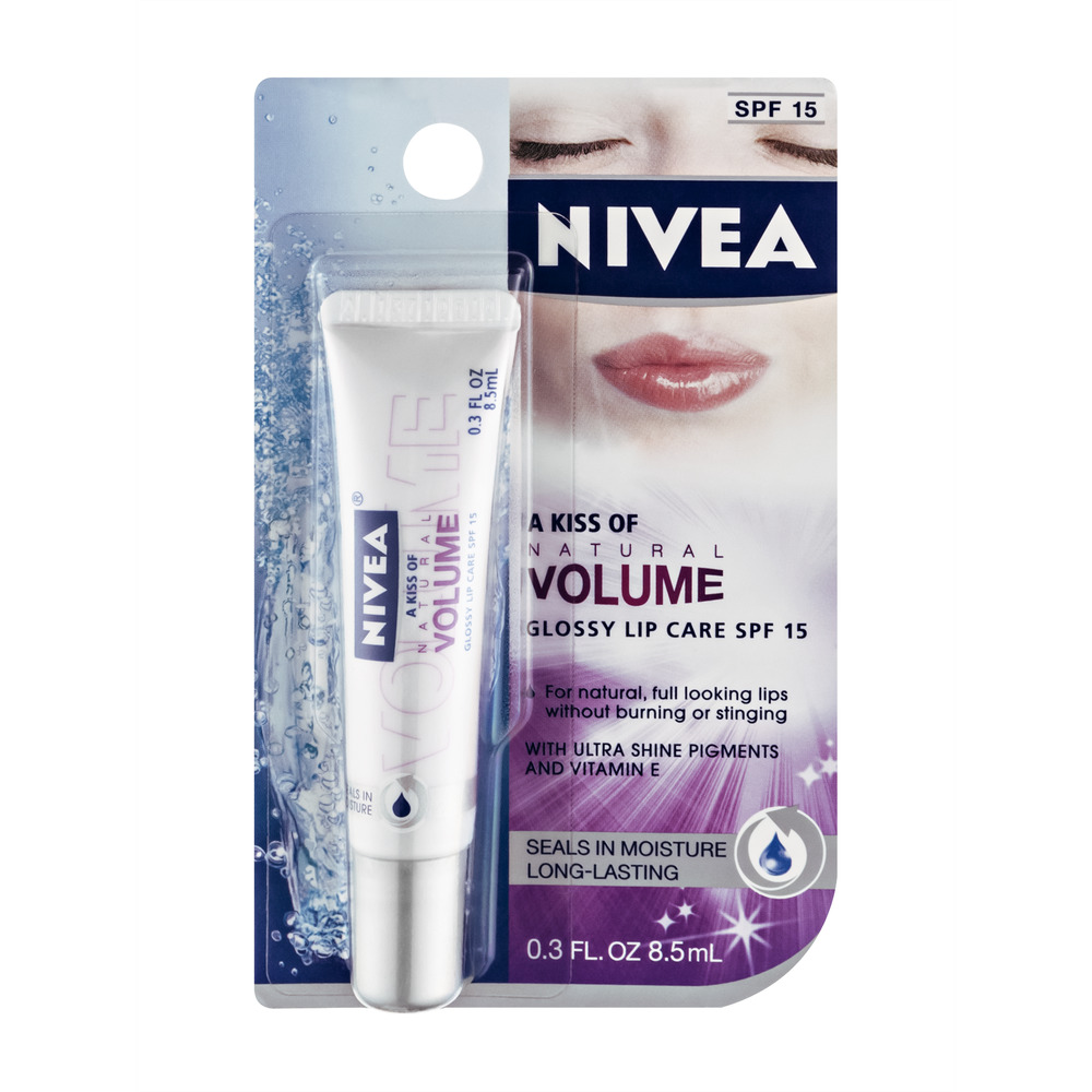 Nivea Lip Care A Kiss of Natural Volume Glossy - SPF 15, 0.3 FL OZ
