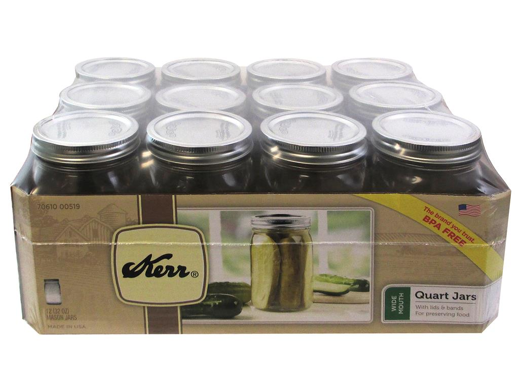 Kerr Wide Mouth Quart 32 Oz. Glass Mason Jars with Lids and Bands, 12 Count by Loew-Cornell Inc