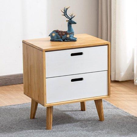 Zerone Bedside Table,Bedside Cabinet,2 Drawer Nightstand Bedroom Bedside Table for Home Bedroom Furniture Decor
