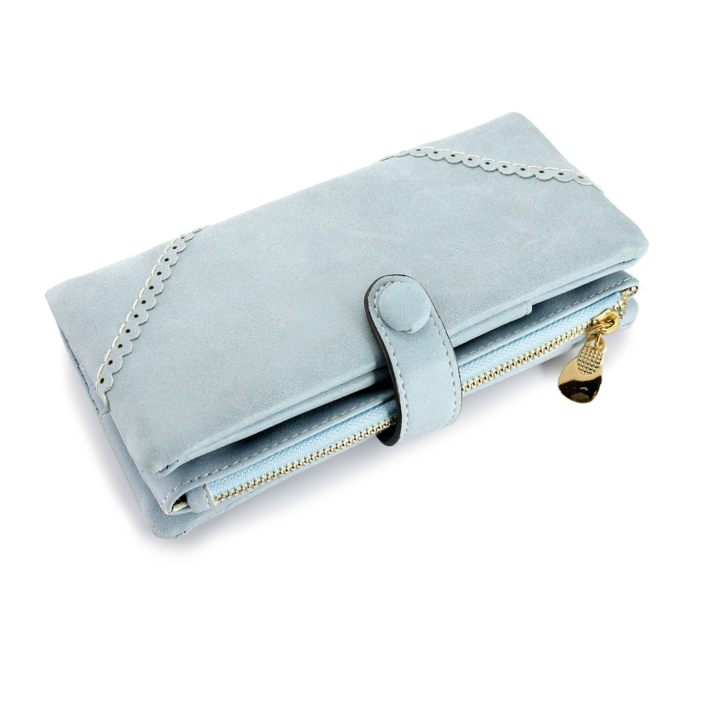 New Fashion Lady Button Women Long Leather Wallet Pocket Purse Clutch Card Holder Handbag Bag (Mother's Day Gift for Mom) - Light Blue