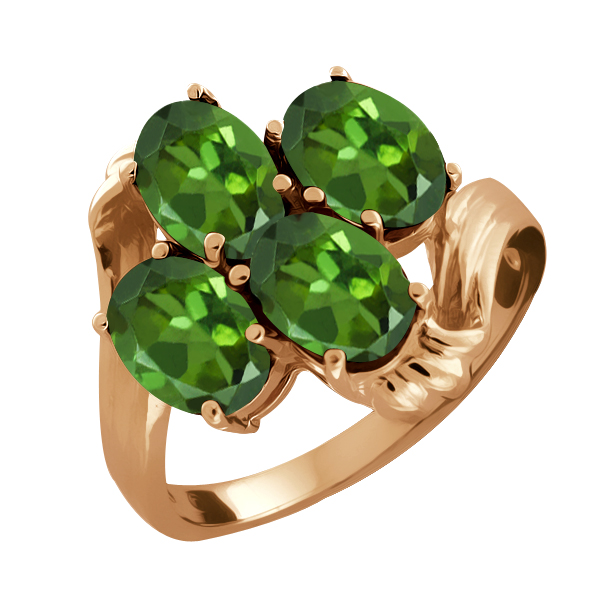 1.60 Ct Oval Green Tourmaline 18K Rose Gold Ring by