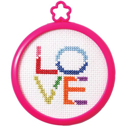 "My 1st Stitch Love Mini Counted Cross Stitch Kit, 3"" Round, 14-Count"