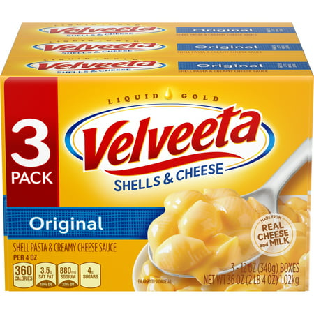 (3 Pack) Kraft Velveeta Original Shells & Cheese Dinner, 3 - 12 oz (Best Baked Mac And Cheese With Velveeta)