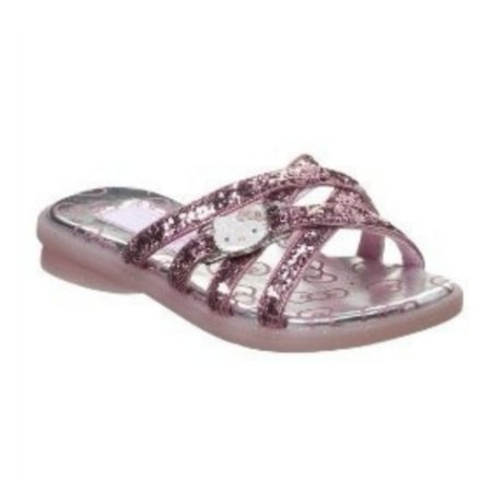 Girls Pink Glitter Hello Kitty Sandals Slide On Flats Size 1