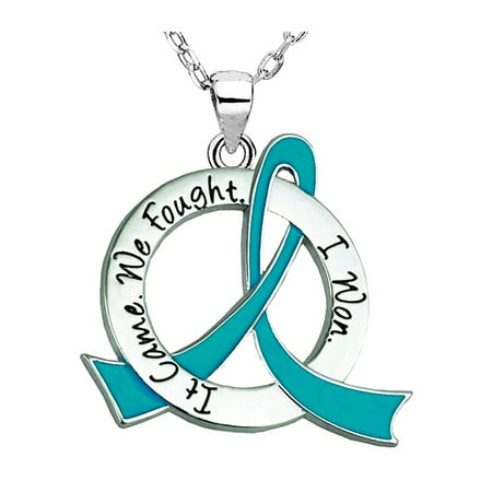 """""""It Came. We Fought. I Won."""" Ovarian / Cervical Cancer Survivor Necklace Jewelry - Teal Ribbon by Fight Like a Girl"""
