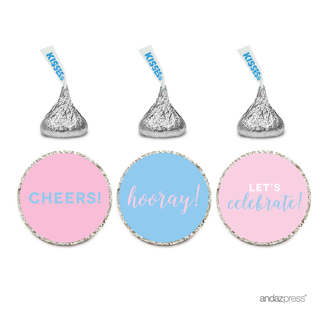 Signature Pink and Blue Gender Reveal Baby Shower, Chocolate Drop Stickers, Cheers! Hooray! Let's Celebrate, 216-Pack