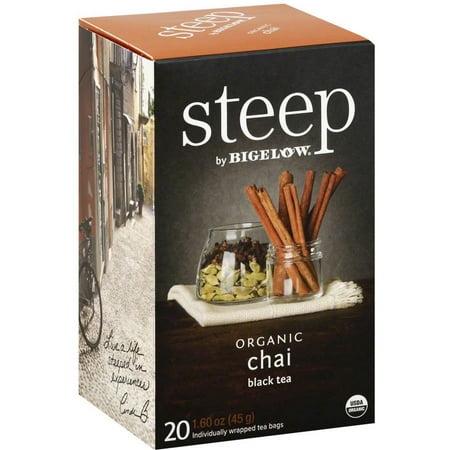 Steep par Bigelow Sacs Chai bio Thé noir, 20 count, 1,6 oz, (Pack de 6)