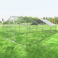 Gymax Large Walk In Chicken Coop Run House Shade Cage 10'x20' with Roof Cover Backyard