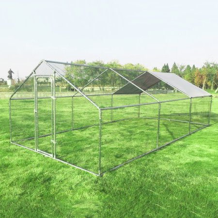 Gymax Large Walk In Chicken Coop Run House Shade Cage 10'x20' with Roof Cover