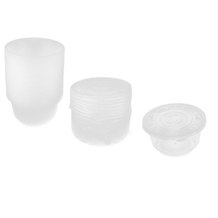 25pcs Outdoor Picnic Clear Plastic Disposable Rice Soup Bowl w Caps - image 3 de 3