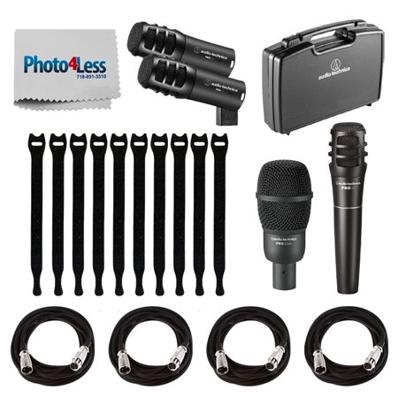 Audio-Technica PRO-DRUM4 Pro Series Drum Microphone Set (4-Piece) + 4x On Stage Mic Cable, 20 ft. XLR + 10 Pack Rip-Tie Lite 1/2x8 Light-Duty Strap, Black + Photo4Less Cleaning Cloth – Top Value Bundl
