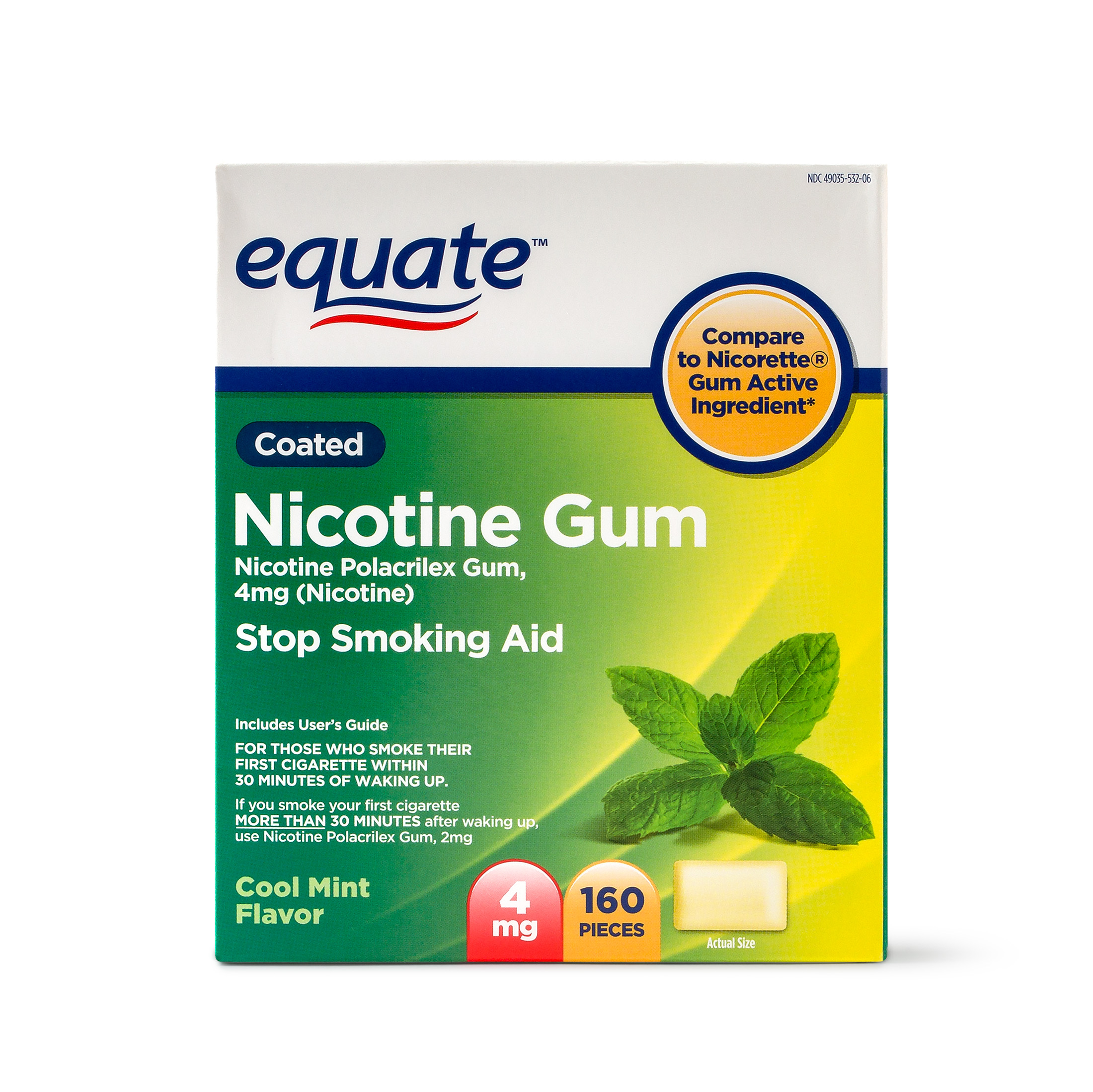 Equate Coated Nicotine Gum Stop Smoking Aid Cool Mint Flavor, 4 mg, 160 Ct