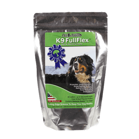 All Natural Hip and Joint Formula for Dogs - K9 Fullflex With Hydrolyzed Shell Membrane Proteins, Collagen, and K9 Immunity - Liver & Beef Flavored Wafers - 60