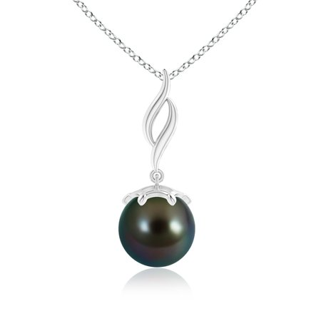 Mother's Day Jewelry - Solitaire Tahitian Cultured Pearl Flame Drop Pendant in 14K White Gold (9mm Tahitian Cultured Pearl) - SP0861THPR-WG-AAAA-9 ()