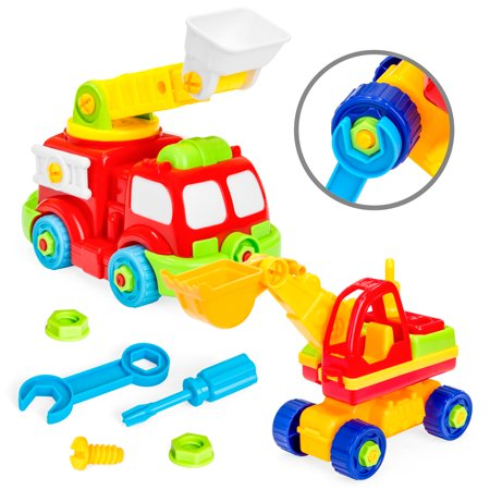 Best Choice Products 36-Piece Set of 2 Kids Take-Apart Firetruck Construction Truck Puzzle STEM Toy Playset w/ Tools