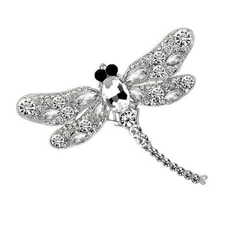 Vintage Brooch Pin Women Cute Crystal Diamond Enamel Dragonfly AE140-A white