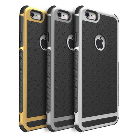 (iPhone 6 6S Rubber Gold Case - Quirkio - Ultra Shockproof Hybrid Rubber TPU Gel Case Thin Anti-slip Double Design Cover Skin For Apple iPhone 6 / 6S)