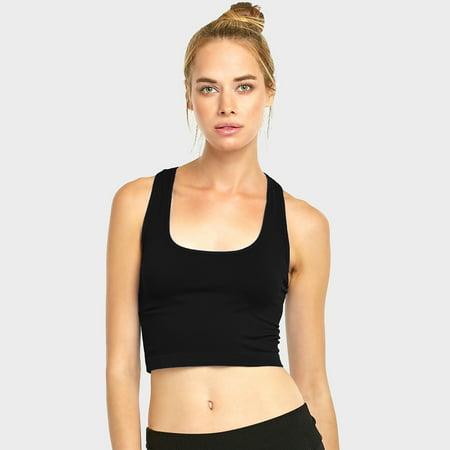 7e16877e7c AllTopBargains - Women Sports Bra Fitness Yoga Crop Tank Top Stretch  Razorback Spandex Bandeau - Walmart.com
