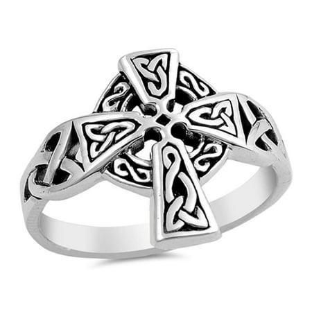 Plain Celtic Cross Design .925 Sterling Silver Ring Sizes 5-10