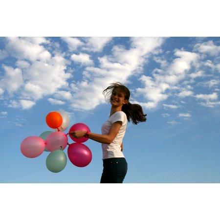 LAMINATED POSTER Girl Bounce Balloons Sky Cloud Poster Print 24 x 36
