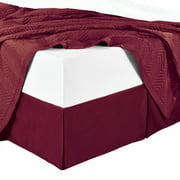 Bed Skirt 100% Cotton Solid 300TC, Split Corner, 15-Inch Tailored Drop Pleated Dust Ruffle-Twin XL - Burgundy