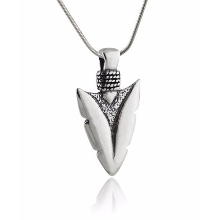 "Sterling Silver Arrowhead Spear Pendant Necklace, 18"" Snake Chain"