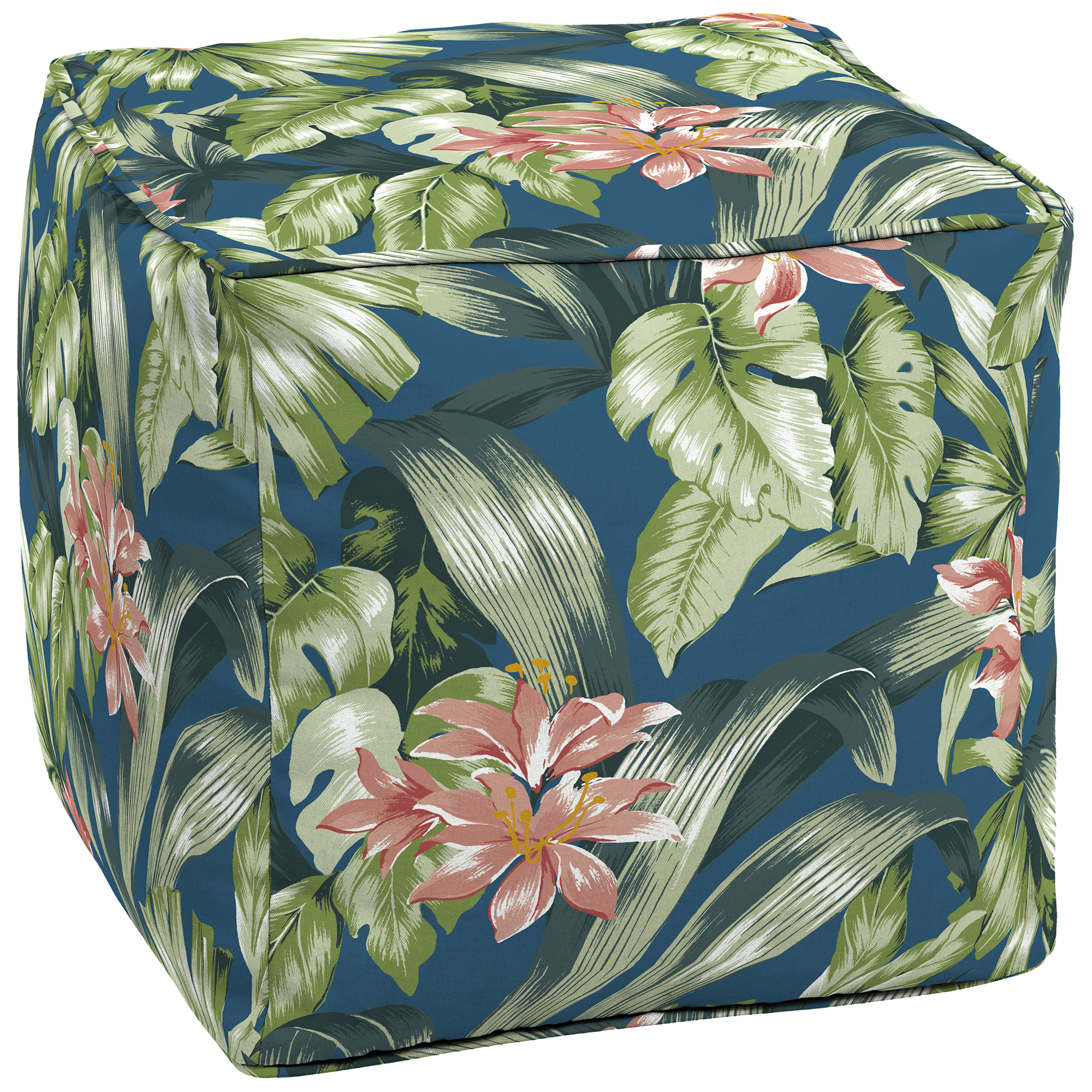 """Better Homes & Gardens Breezy Tropical Outdoor 17"""" Square Pouf"""