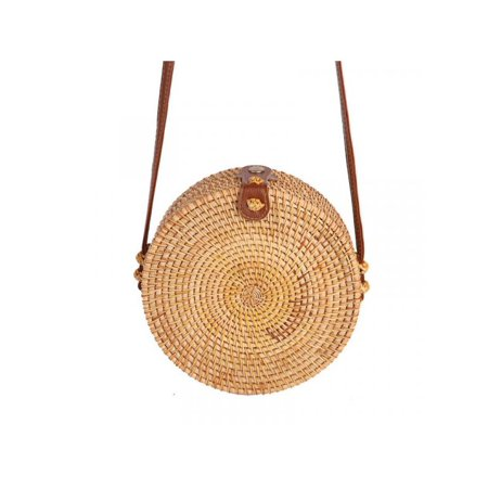 Lavaport Women Retro Hand Woven Rattan Straw Bali Basket Round Solid Beach Shoulder Bag ()