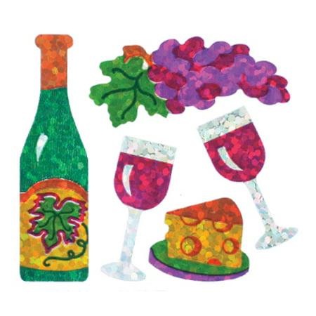 Bulk Roll Prismatic Stickers, Wine / Glasses / Grapes (100
