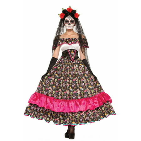 Halloween Day Of Dead Spanish Lady Adult Costume - Day Of The Dead Faces For Halloween