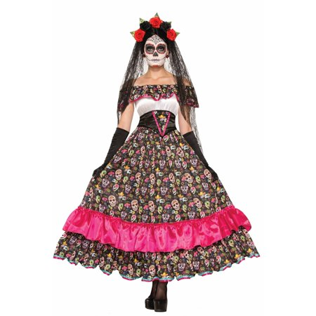 Halloween Day Of Dead Spanish Lady Adult Costume - Black Halloween Costumes For Ladies