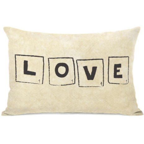 """Scrabble Love Letters"" Indoor Throw Pillow by OneBellaCasa, 14""x20"" by One Bella Casa"