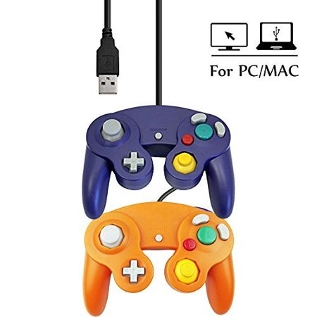 USB Wired Ngc Controller Gamepad GameCube For Windows PC MAC USB Purple And Orange (Pc Game Controller Mac)