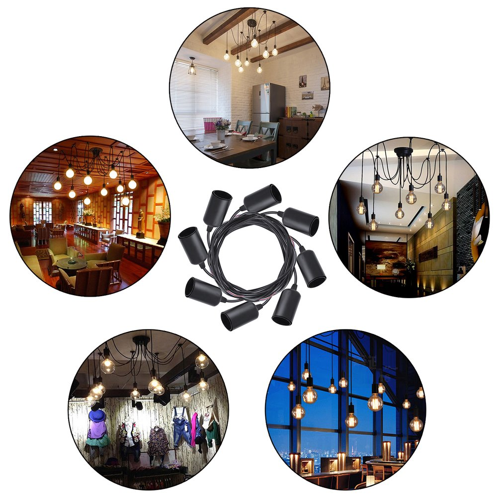 8 Heads Vintage DIY Loft Ceiling Light Multiple Adjustable Chandelier Pendant Lamp Home Hotel Decor