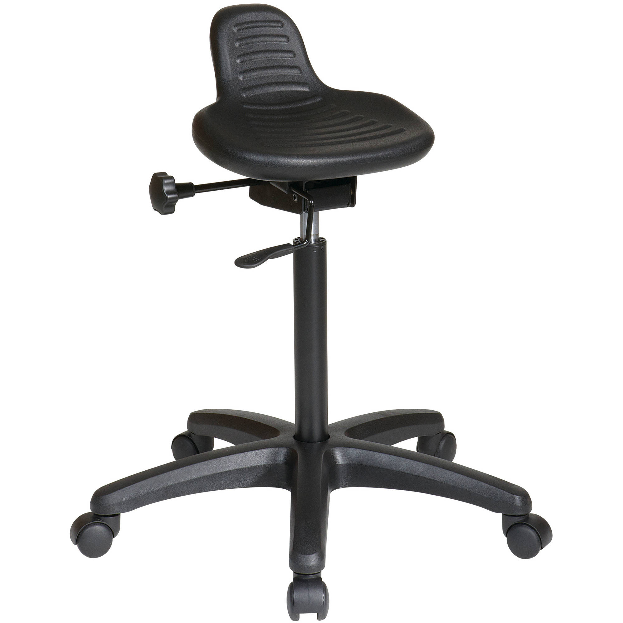 Work Smart Saddle Seat Stool with Seat Angle Adjustment and Glides, Black
