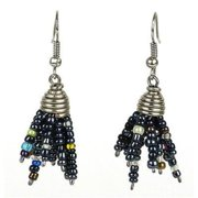 Zakali Creations Maasai Beaded Spike Earrings, Black