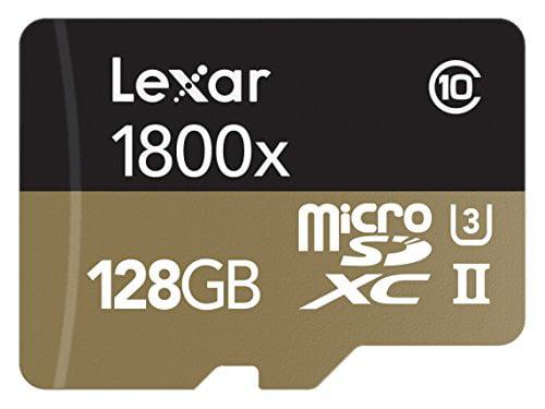 Lexar Professional 1800x microSDXC 128GB UHS-II W USB 3.0 Reader Flash Memory Card LSDMI128CRBNA1800R by Lexar