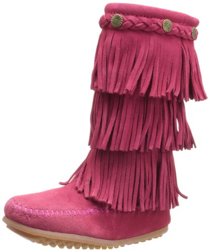 Minnetonka 3 Layer Fringe Boot (Toddler Little Kid Big Kid),Bright Pink,8 M US by