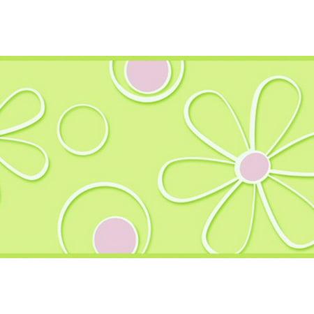 878978 Pink Green Daisy Dot Wallpaper Border