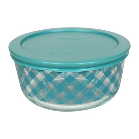 Teal Replacement - Pyrex 7201 4-Cup Teal Checkered Glass Bowl & 7201-PC Teal Replacement Lid