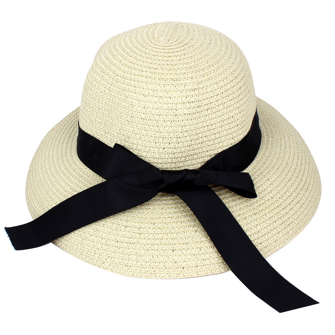 Unique Bargains Tasharina Women S Straw Braided Sun Visor Bowtie Ornament Floppy Beach Hat Cap Beige