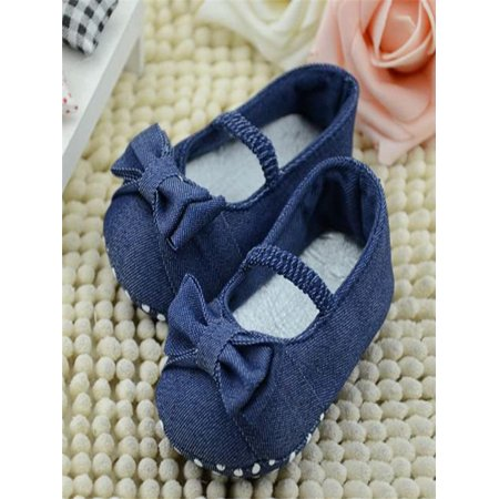 Shoe Blue Denim (Baby Bowknot Denim Toddler Princess First Walkers Girls Kid Shoes)